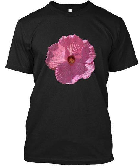 Pink Hibiscus Summer Flower Poster Print Black T-Shirt Front