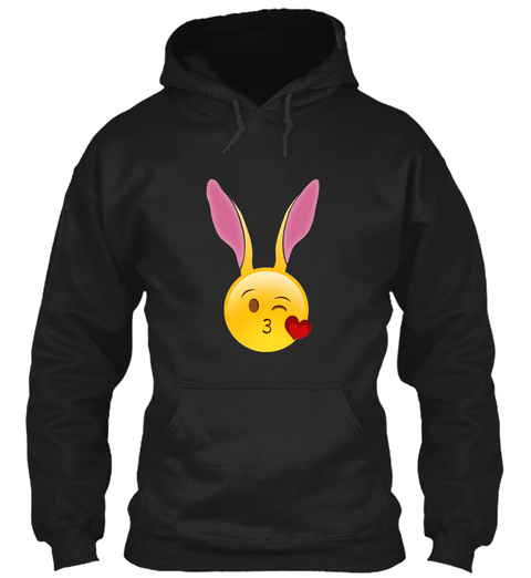 Cute Heart Kiss Bunny Emoji Face Easter  Black T-Shirt Front