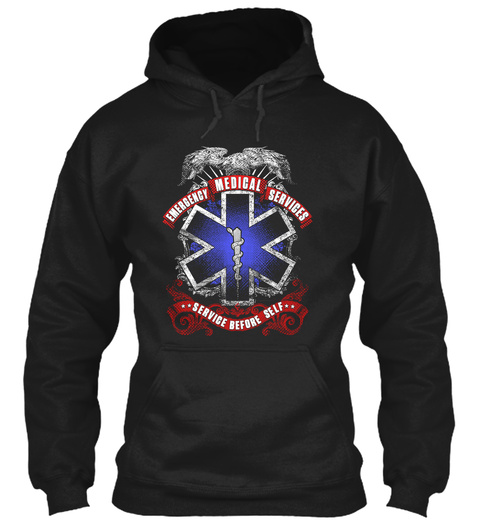 Emergency Medical Services Service Before Self Black T-Shirt Front