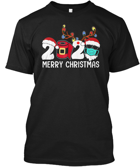 Merry Christmas 2020 Santa Face Mask Fun Black T-Shirt Front