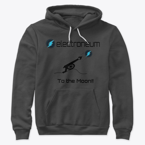 Electroneum   To The Moon Dark Grey Heather T-Shirt Front