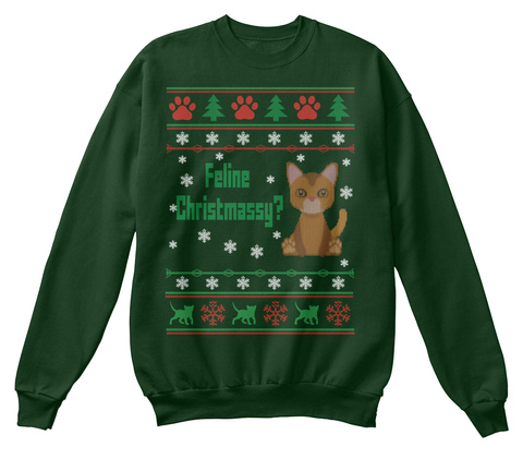 Feline Chirstmassy Deep Forest  T-Shirt Front