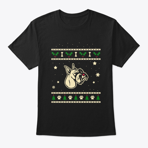 Christmas Standard Schnauzer Gift Black T-Shirt Front