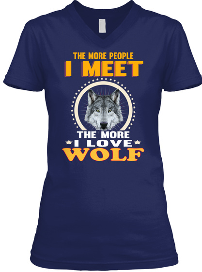 Wolf Animals Lover Navy T-Shirt Front