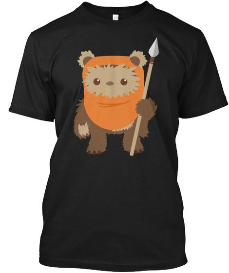 Cartoon Ewok Black T-Shirt Front