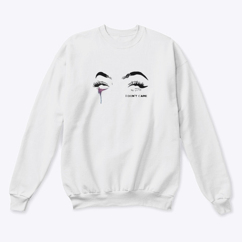 Idc Rolling Eyes White  T-Shirt Front
