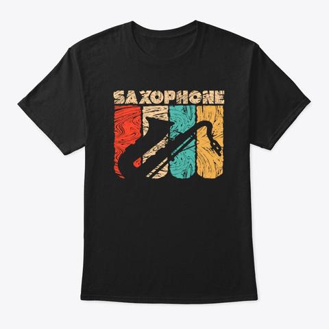 Saxophone Vintage Retro Music Lover Black T-Shirt Front