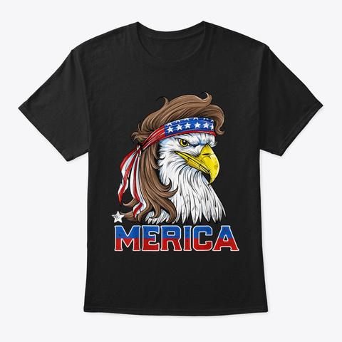 Eagle Mullet Merica 4th  American Flag  Black T-Shirt Front
