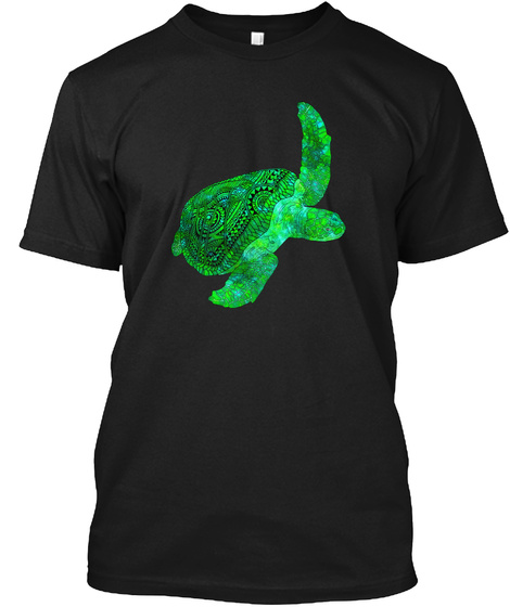Tribal Sea Turtle Rescue Charity T Shirt Black T-Shirt Front