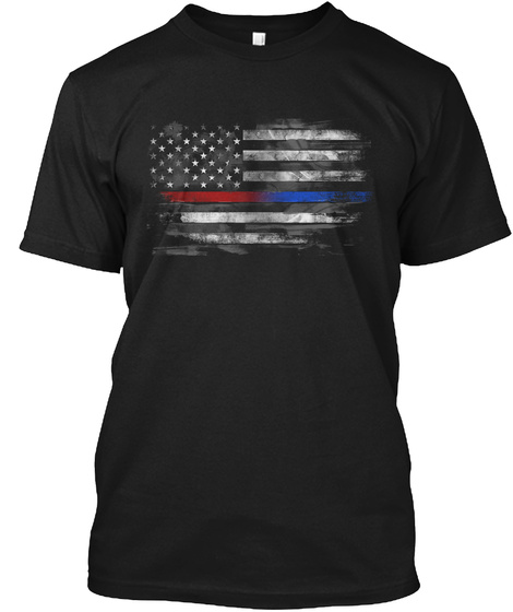 Thin Red And Blue Line Flag Black T-Shirt Front