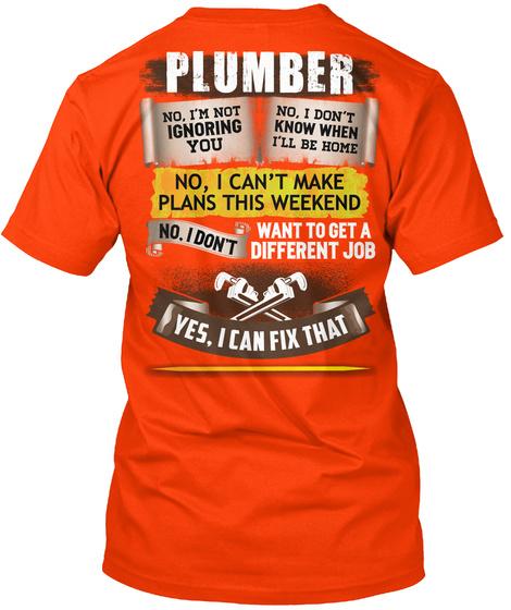 Awesome Plumber Shirt Orange T-Shirt Back