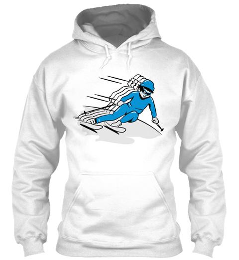Winter Holiday Ski Descent Man Race Desi White T-Shirt Front