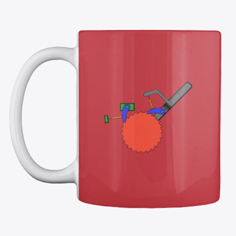 Ratchet And Pawl Engineering Geek Mug Bright Red T-Shirt Front