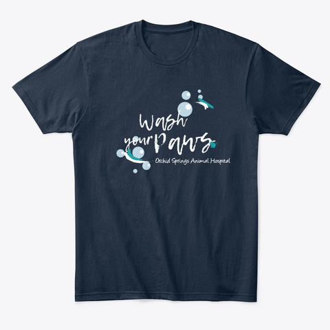 Wash Your Paws   White Text New Navy T-Shirt Front