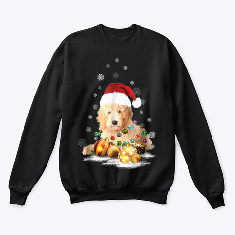 Labradoodle Christmas Dog Light T Shirts Black T-Shirt Front
