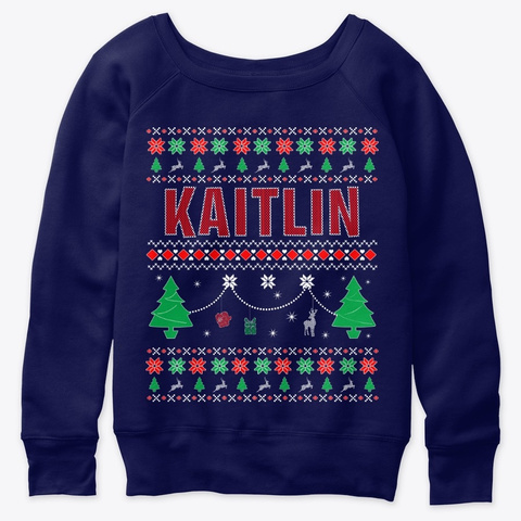 Xmas Themed Personalized For Kaitlin Navy  T-Shirt Front