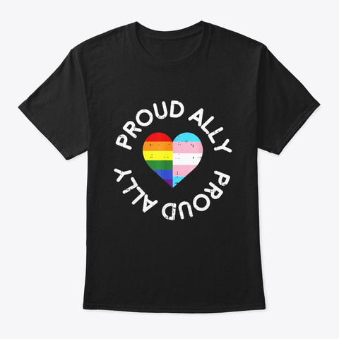 Proud Ally Lgbt Cute Gay Transgender Black T-Shirt Front