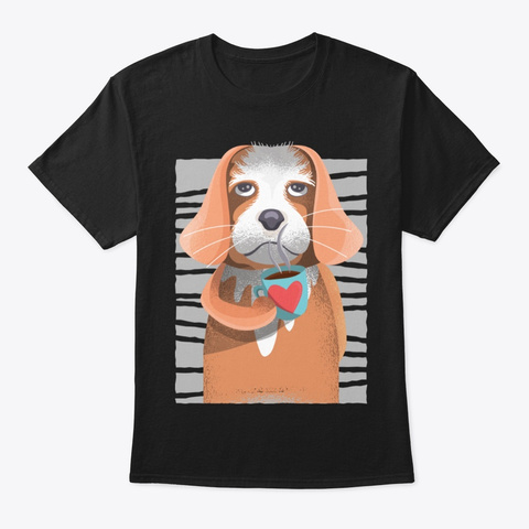 Cute Cavalier Dog Gift For Coffee Lover Black T-Shirt Front