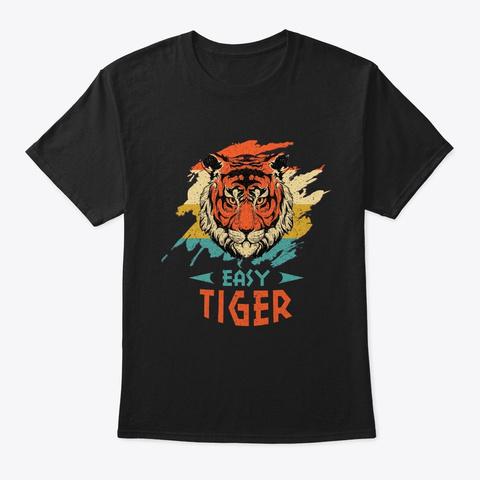 Easy Tiger Animal Retro Vintage Sunset Black T-Shirt Front