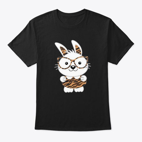 Bunny With Tiger Print Glasses Clothes S Black T-Shirt Front