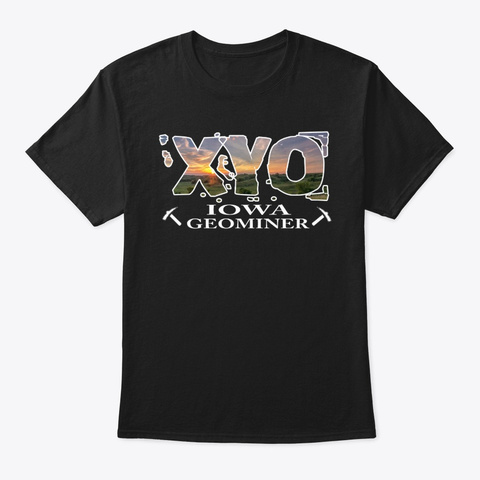 Xyo Iowa Design Black T-Shirt Front