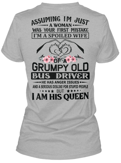 Awesome Bus Diver's Wife Sport Grey T-Shirt Back