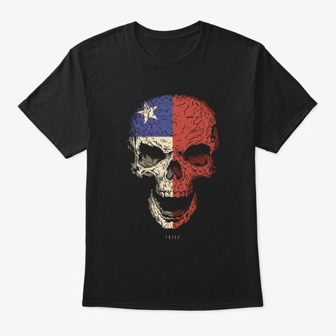 Skull Chile Flag Skeleton Black T-Shirt Front