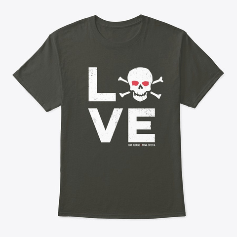 I Love Oak Island Skull Templar Treasure Smoke Gray T-Shirt Front
