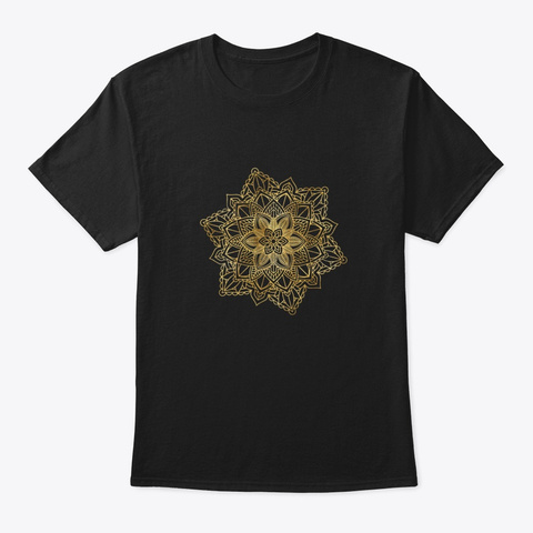 Floral Ornament Mandala Sacred Art Yoga Black T-Shirt Front