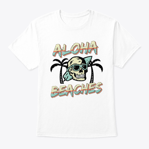 Surfing Aloha Beaches Skull Palm Trees White T-Shirt Front