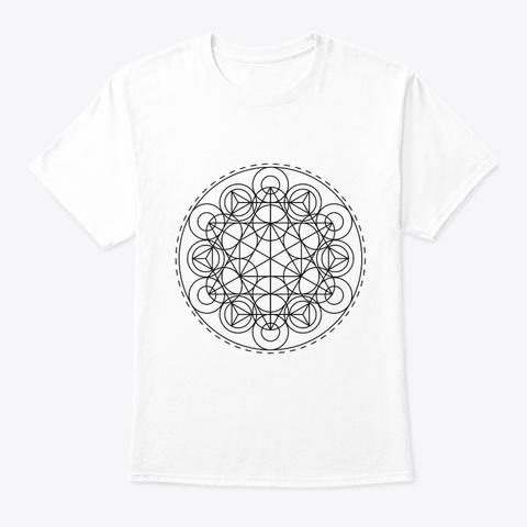 Sacred Geometry Tri Hex Circles Black White T-Shirt Front