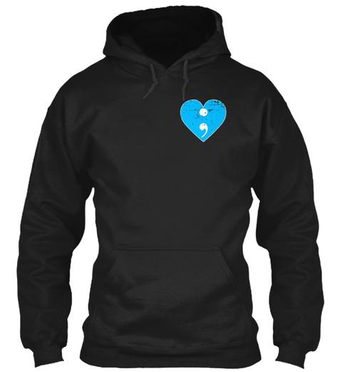 Semicolon Heart Art Mental Health Awaren Black T-Shirt Front