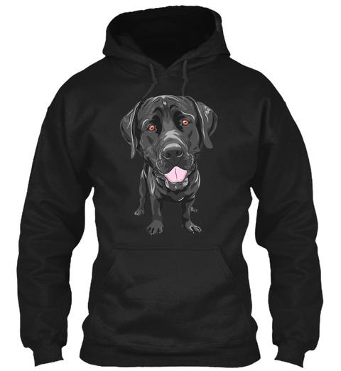 Black Labrador Black T-Shirt Front