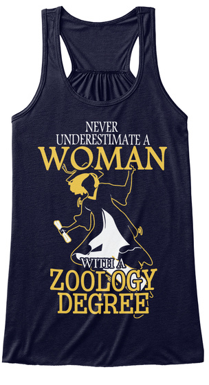 Never Underestimate A Woman With A Zoology Degree Midnight T-Shirt Front
