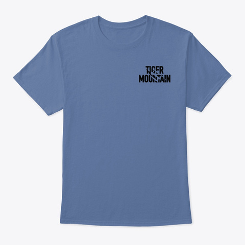 Tiger Mountain  White & Black Logo Denim Blue T-Shirt Front