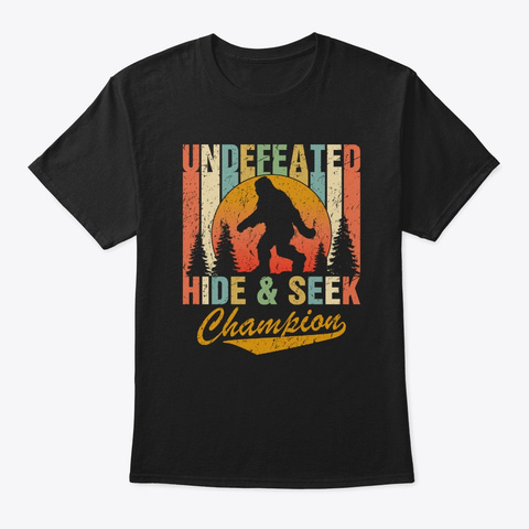 Vintage Bigfoot Undefeated Hide And Seek Black T-Shirt Front