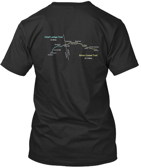 Silver Comet And Chief Ladiga Trail Map Black T-Shirt Back