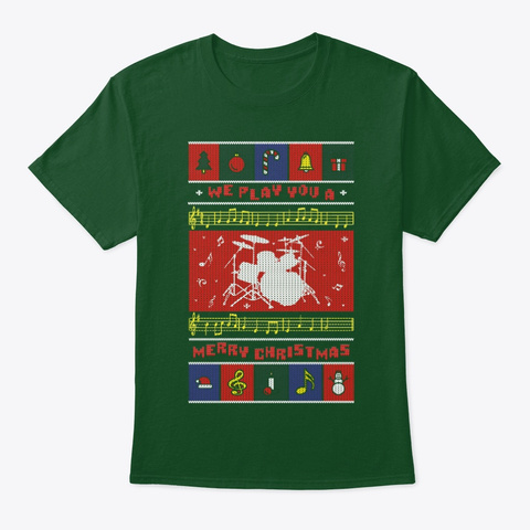 Drum Set Ugly Christmas Deep Forest T-Shirt Front