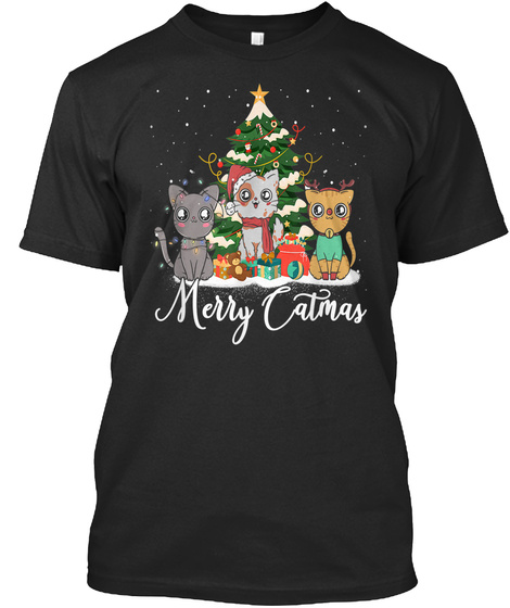 Merry Catmas Cat Santa Hat Kitty Lovers Black T-Shirt Front