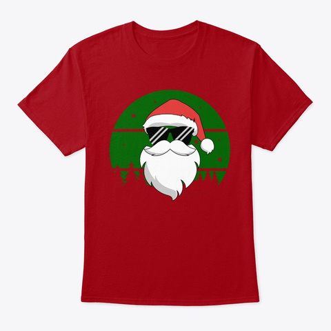 Retro Cool Santa With Sunglasses Deep Red T-Shirt Front