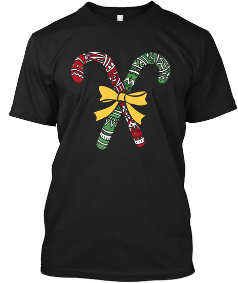 Candy Cane Christmas Shirt Funny Holiday Black T-Shirt Front