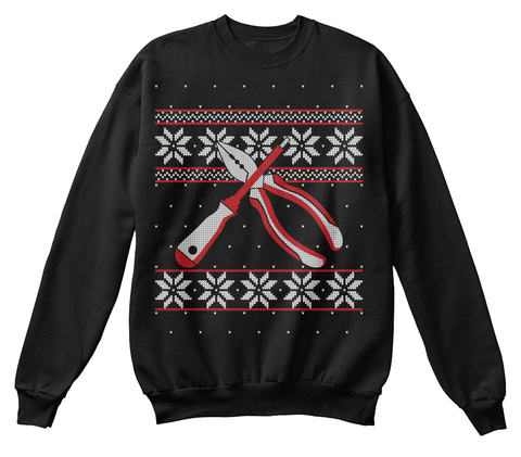 Electrician Plier Ugly Christmas Sweater Black T-Shirt Front
