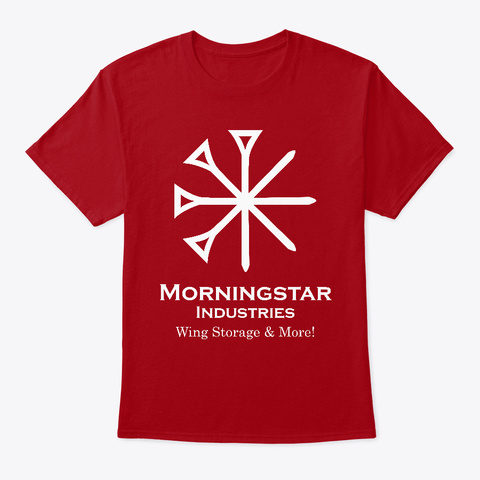 """Morningstar Industries """"Wing Storage"""" Deep Red T-Shirt Front"""