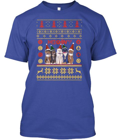 Meowy Christmas Deep Royal T-Shirt Front