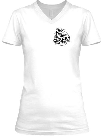 Women's V Neck White T-Shirt Front