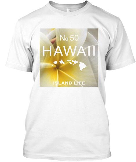 Hawaii Aloha Style 50 Palms White T-Shirt Front
