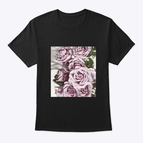 Pink Roses Sketch  Black T-Shirt Front
