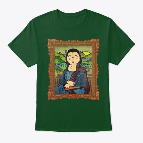 Mona Lisa Cat Deep Forest T-Shirt Front