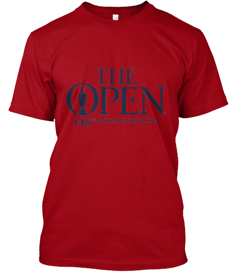 The Open 148th Royal Portrush Deep Red T-Shirt Front