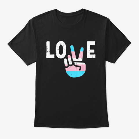 Love Peace Sign Funny Hand Lgbt Black T-Shirt Front